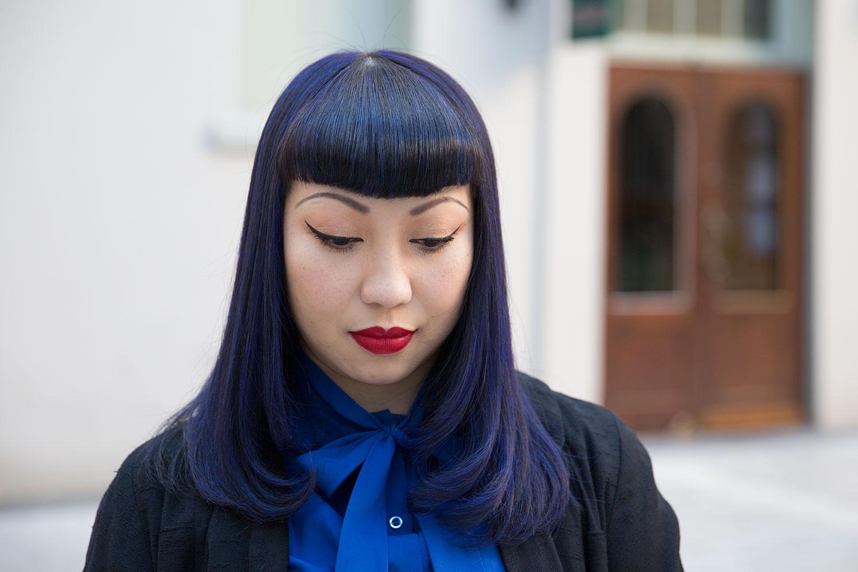 vintage blue hair