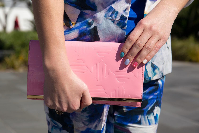 pink karen walker clutch