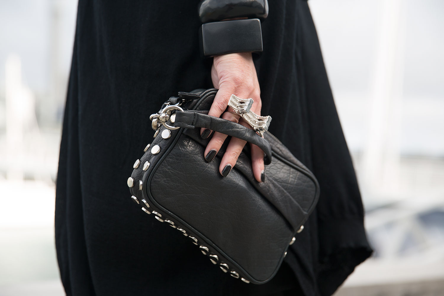 black leather clutch by topshop