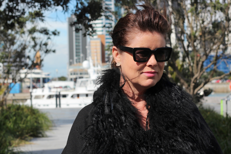 fur coat and sunglasses
