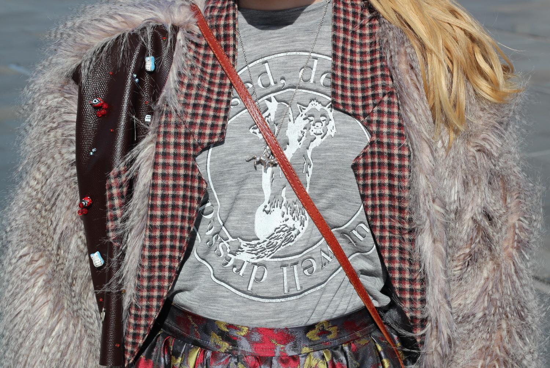 grey sweatshirt with fur cardigan