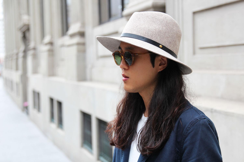 Beige fedora hat