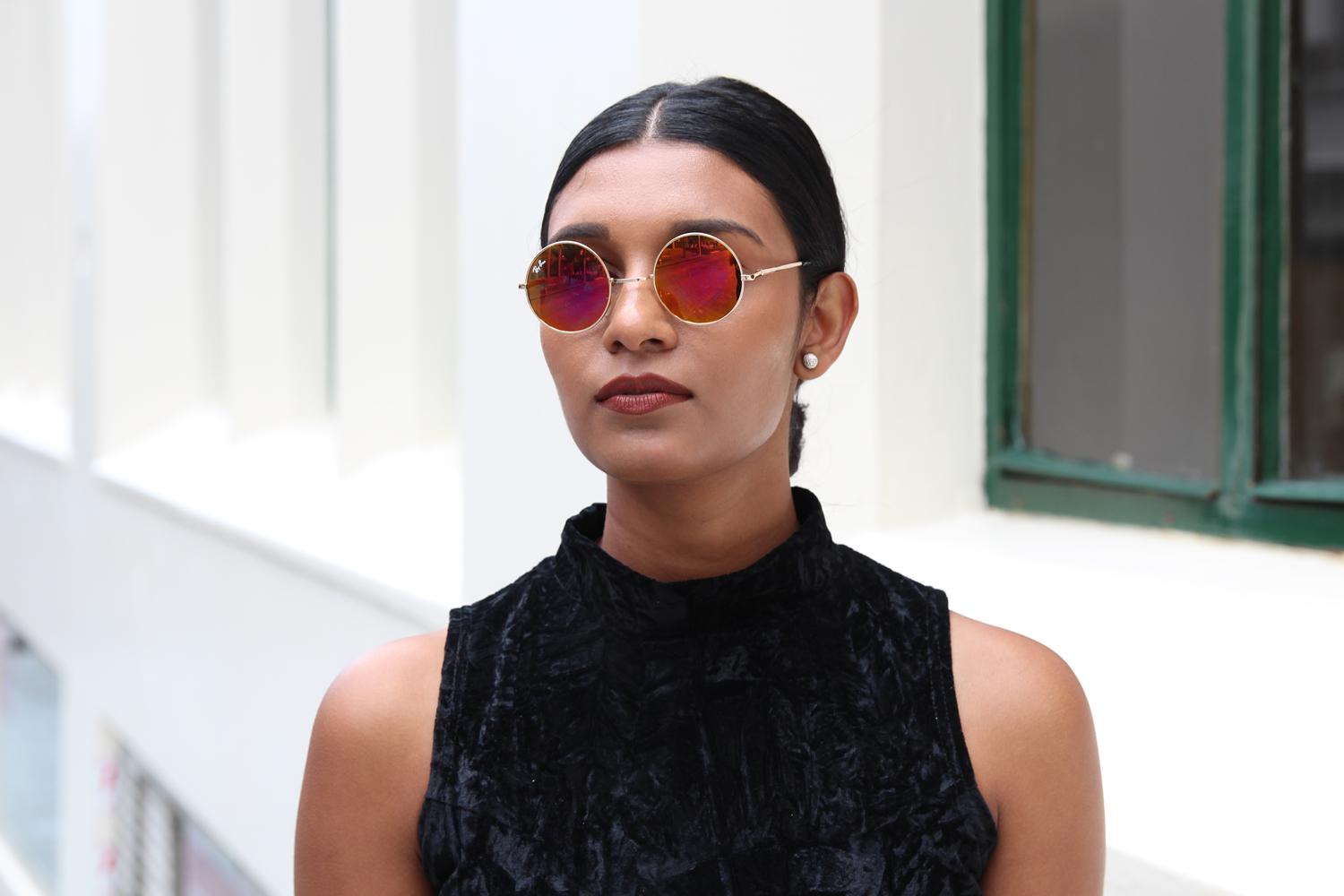 round mirrored coloured sunglasses
