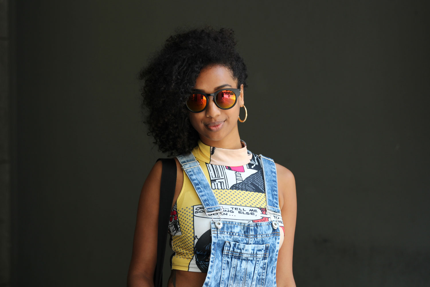 denim overalls with coloured sunglasses