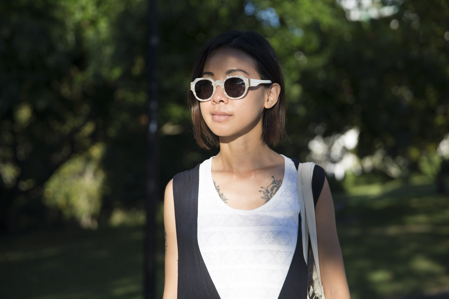 Maggie wears Colab sunglasses.