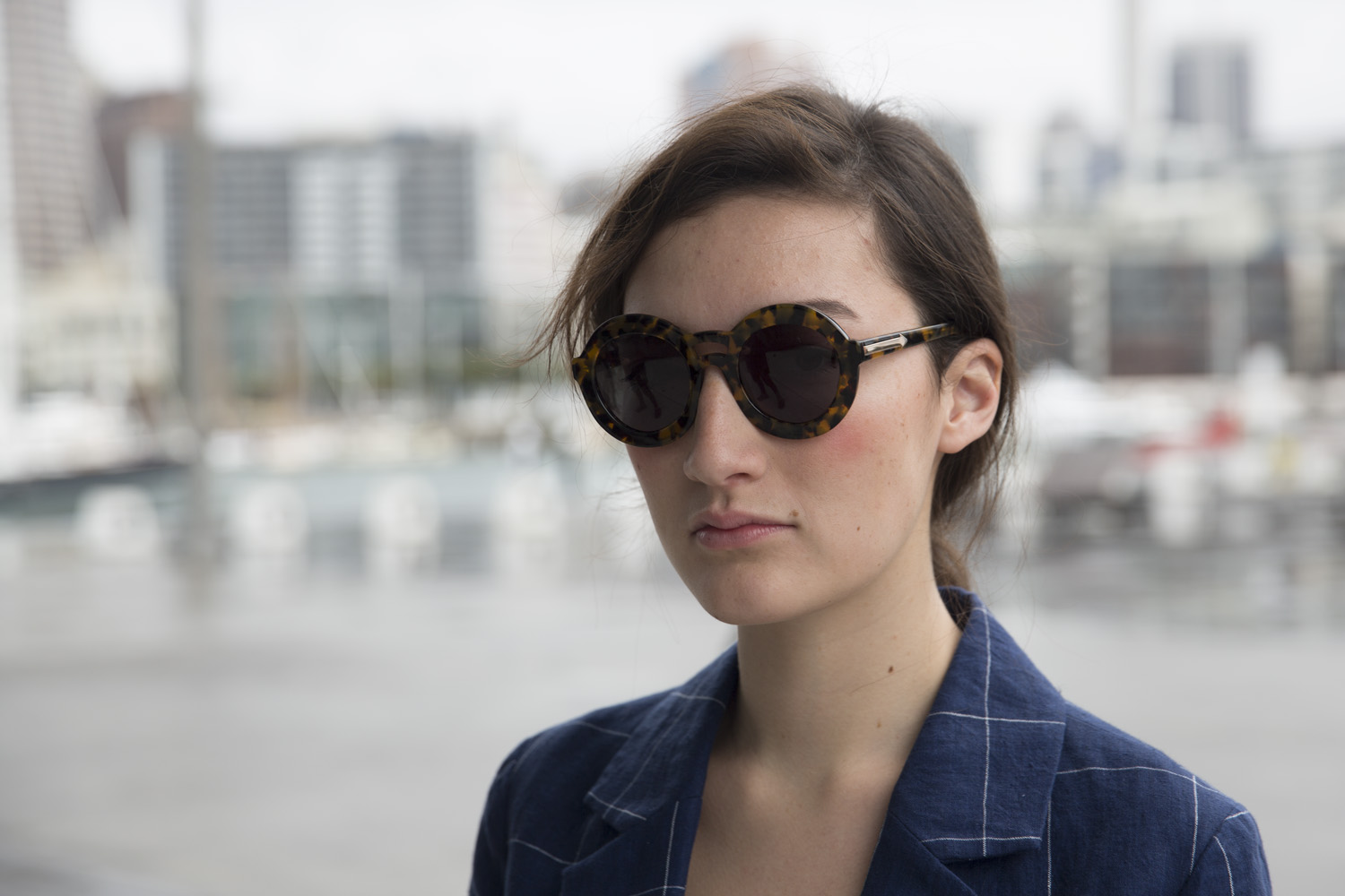 Maddy wears Karen Walker sunglasses and culottes, Miss Crabb top, Twenty-Seven Names jacket and Ruby shoes.